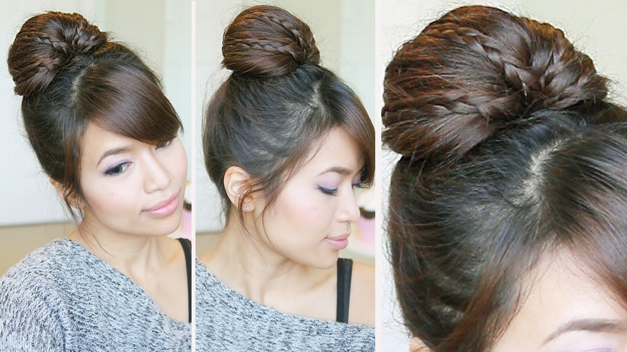 The Best Braided Fan Bun Updo Hairstyle For Medium Long Hair Pictures