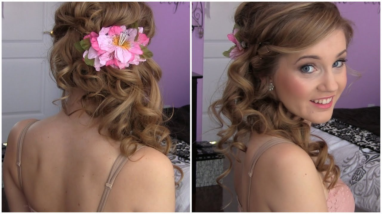 The Best Side Swept Cascading Curls Easy Diy Prom Hair Tutorial Youtube Pictures