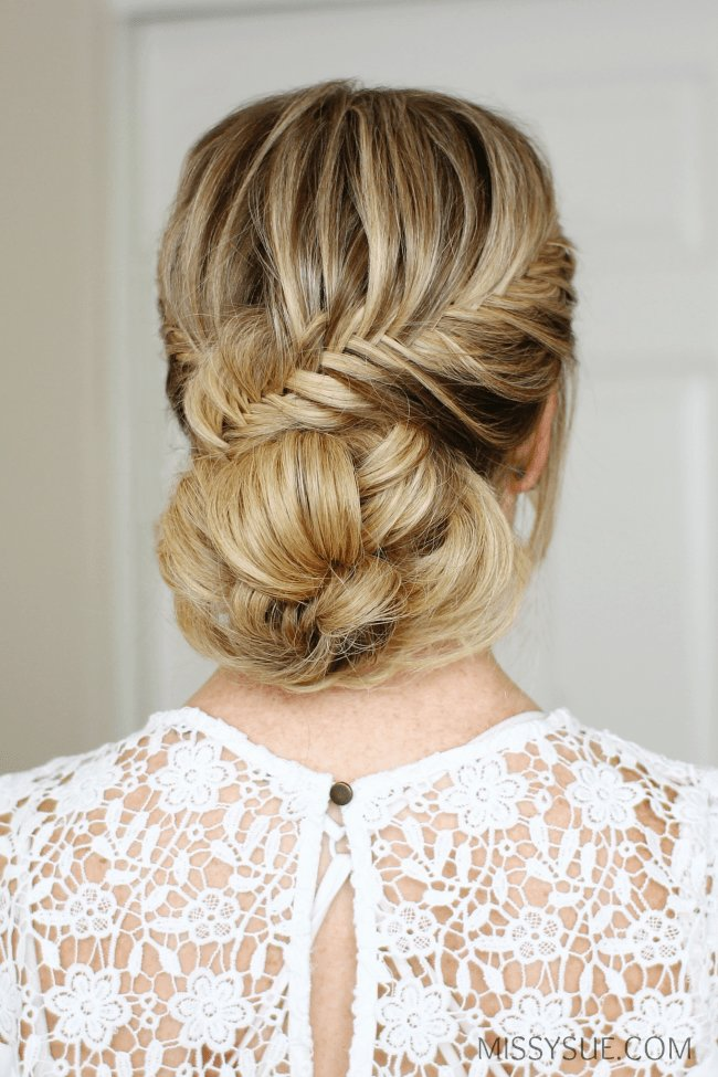 The Best Fishtail French Braid Low Bun Missy Sue Pictures