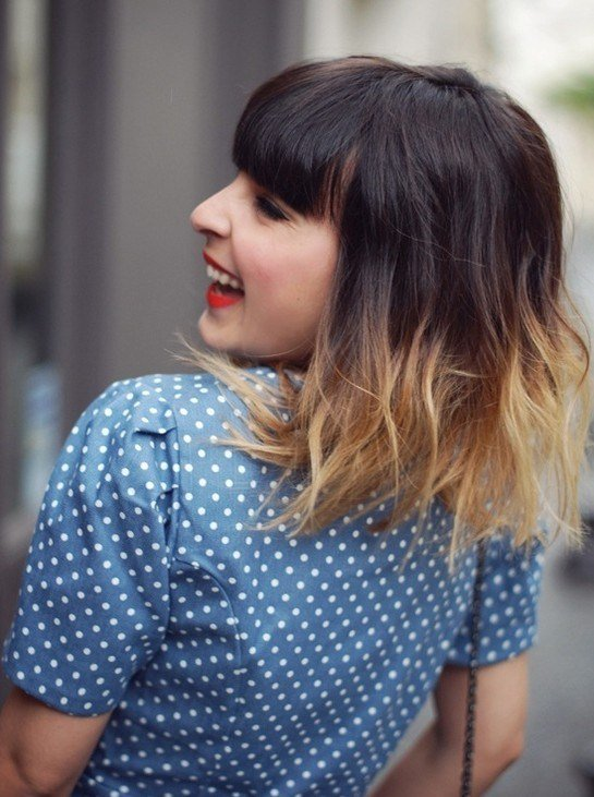 The Best Ombre Hairstyles Medium Haircut With Blunt Bangs Popular Haircuts Pictures