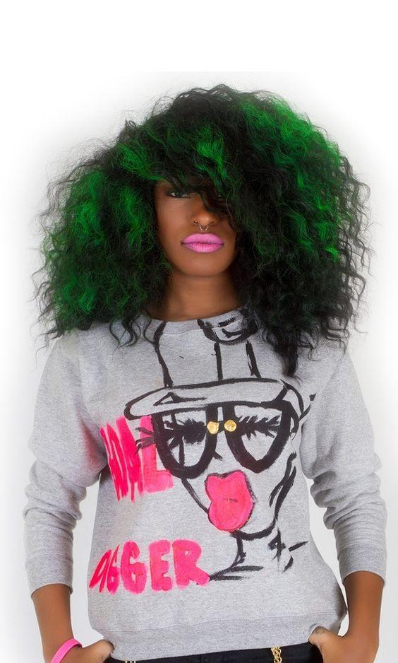 The Best Natural Curls In Green Hair Colors Ideas Pictures