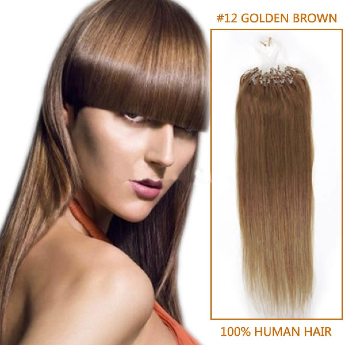 The Best 18 Inch 12 Golden Brown Micro Loop Human Hair Extensions 100S Pictures