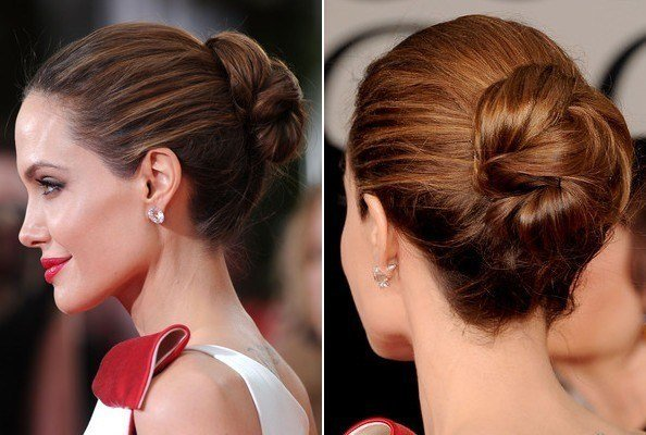 The Best Angelina Jolie Updos Side View Of Twisted Bun Updo Pictures