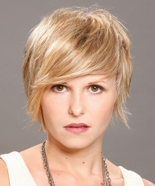 The Best Short Straight Casual Hairstyle Champagne Blonde Hair Color Pictures