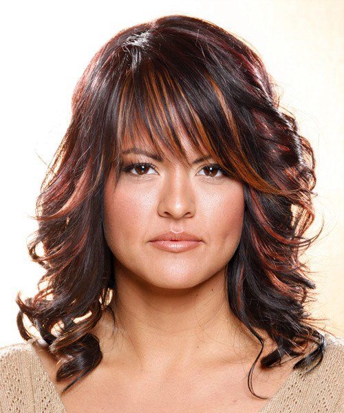 The Best Long Wavy Casual Hairstyle With Layered Bangs Dark Plum Pictures