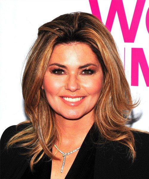 The Best Shania Twain Medium Straight Casual Hairstyle Light Pictures