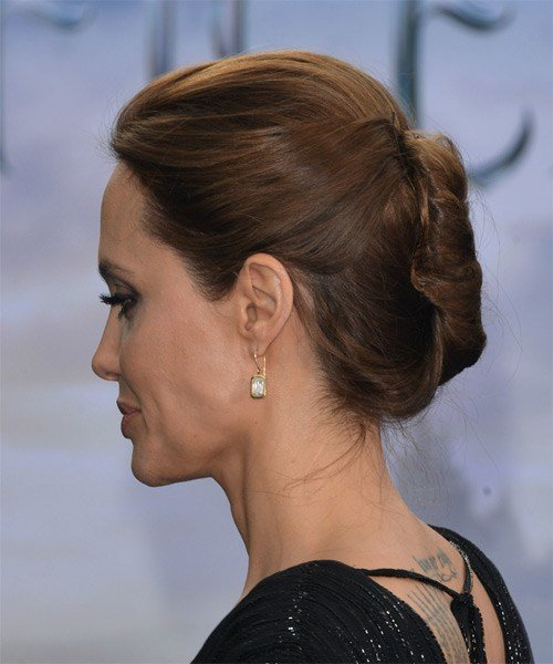 The Best Angelina Jolie Long Straight Formal Updo Hairstyle Pictures