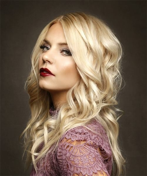 The Best Long Wavy Formal Hairstyle Light Blonde Hair Color Pictures