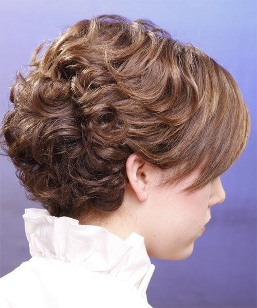 The Best Short Curly Formal Hairstyle With Side Swept Bangs Light Chestnut Brunette Hair Color Pictures