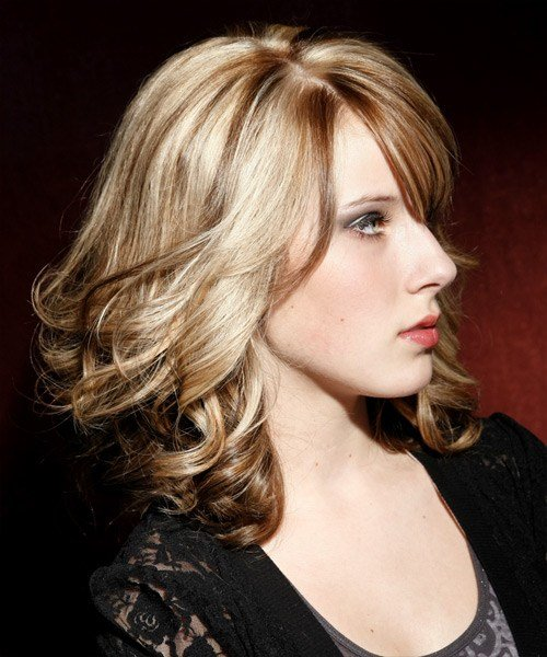 The Best Medium Wavy Formal Hairstyle With Side Swept Bangs Pictures