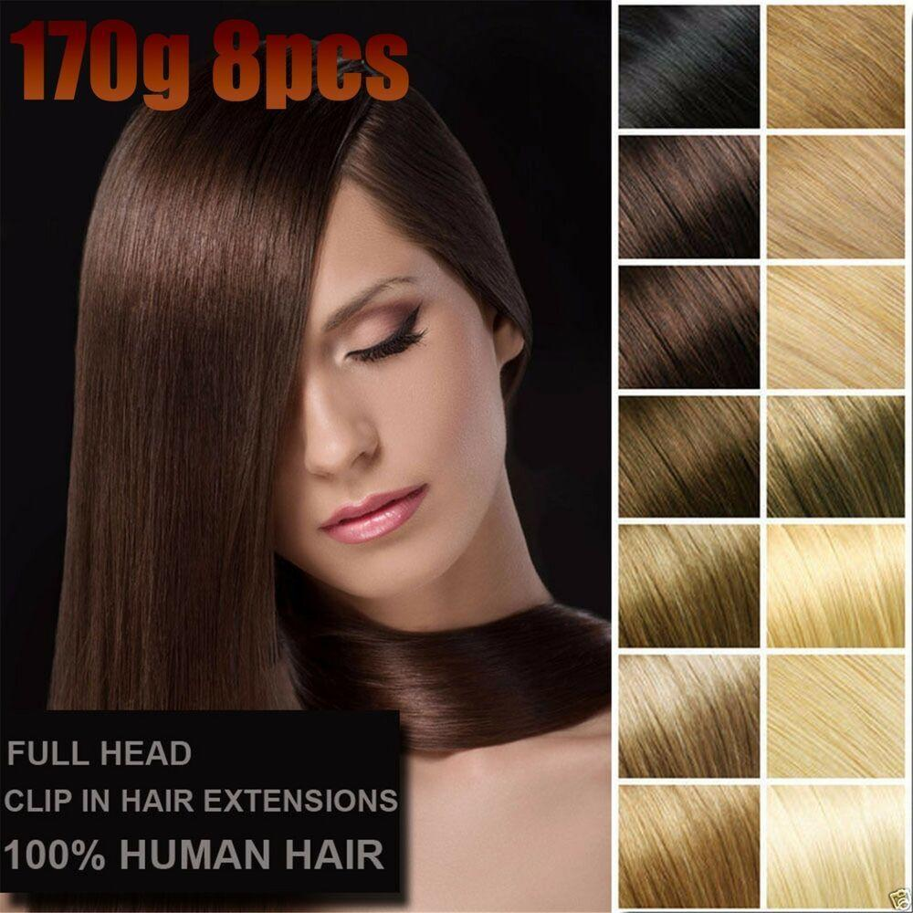 The Best 8Pcs 170G Straight Remy V*Rg*N Clip In 100 Real Human Hair Extensions Full Head Ebay Pictures