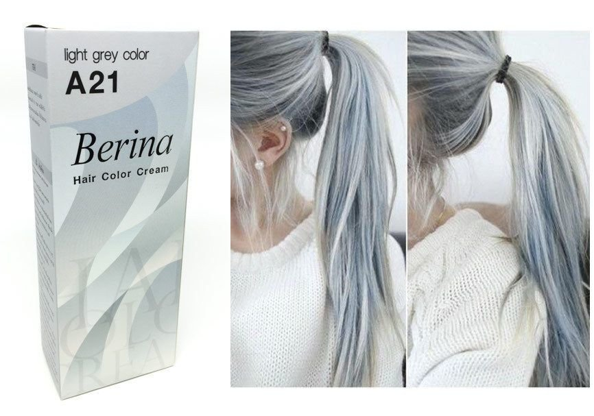 The Best Berina A21 Light Grey Silver Permanent Hair Dye Color Pictures