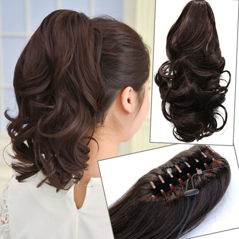 The Best Womens Hairpiece Short Wavy Curly Claw Hair Ponytail Clip Pictures