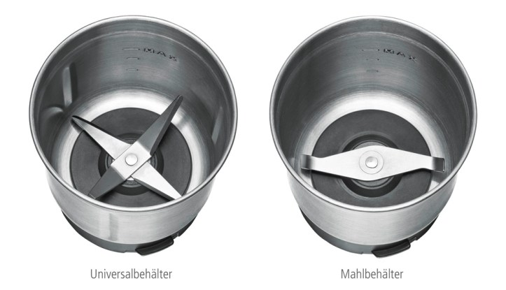 zwei verschiedene Mahlbehaelter der Rommelsbacher EKG 200 Gewuerz und Kaffeemuehle