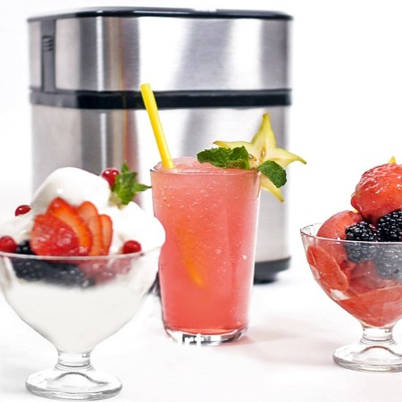 Eismaschine aus Edelstahl mit Fruchteis, Slush und Frozen Yoghurt