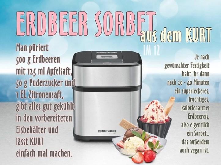 Eismaschine aus Edelstahl von Rommelsbacher mit Eisrezept für Erdbeer Sorbet