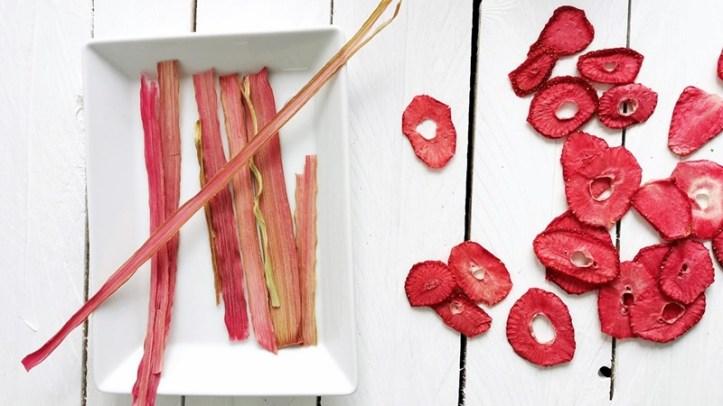Erdbeer-Chips und Rhabarberchips