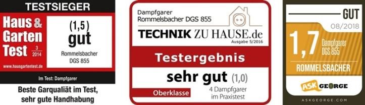 drei Testsiegel für DGS 855 Dampfgarer Rommelsbacher