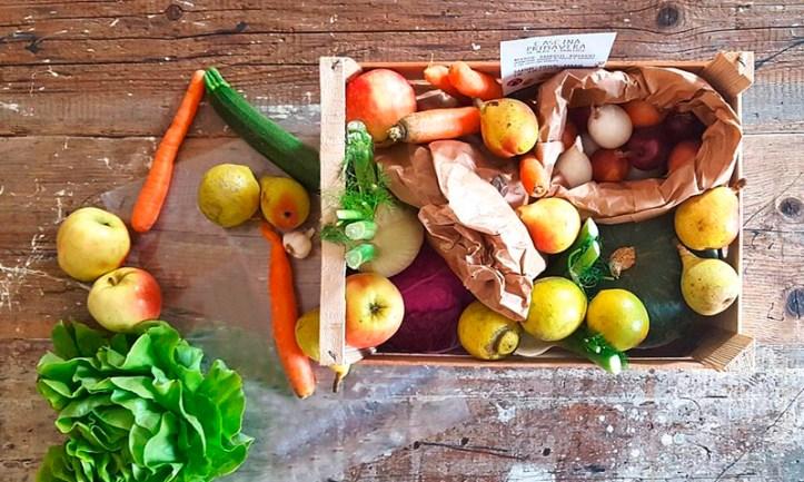 Kiste mit Gemüse und Obst zum Mealprepping