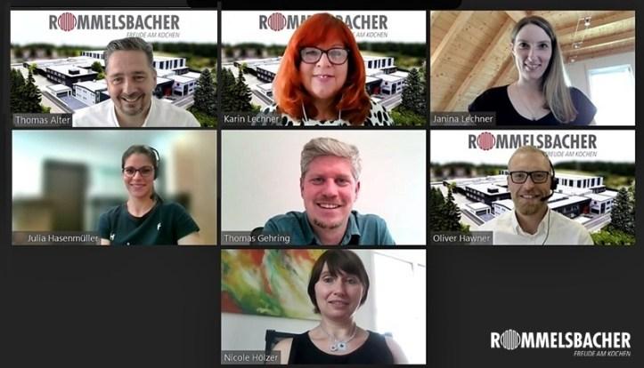 Gruppenbild Marketing Team Rommelsbacher - 7 Personen im Zoom Meeting