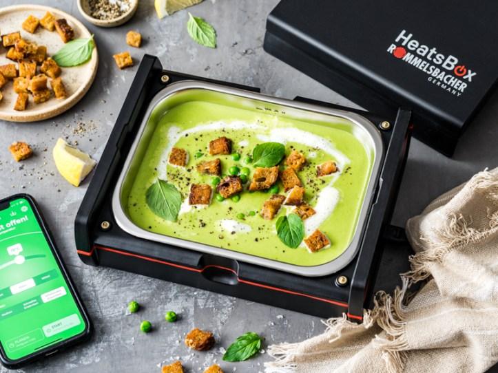 Erbsensuppe mit Minze in der HeatsBox - elektrische Lunchbox von Rommelsbacher