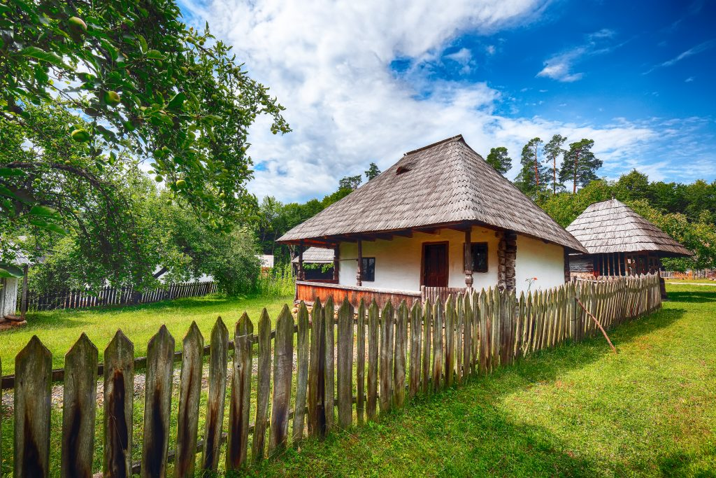 view of traditional romanian peasant houses in tra AM48LNB