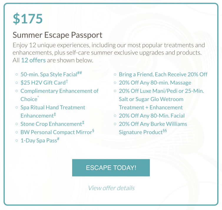 If you love pampering yourself at the spa, checkout Burke Williams Self-Care Summer Escape Passports which offers fab spa perks for a steal