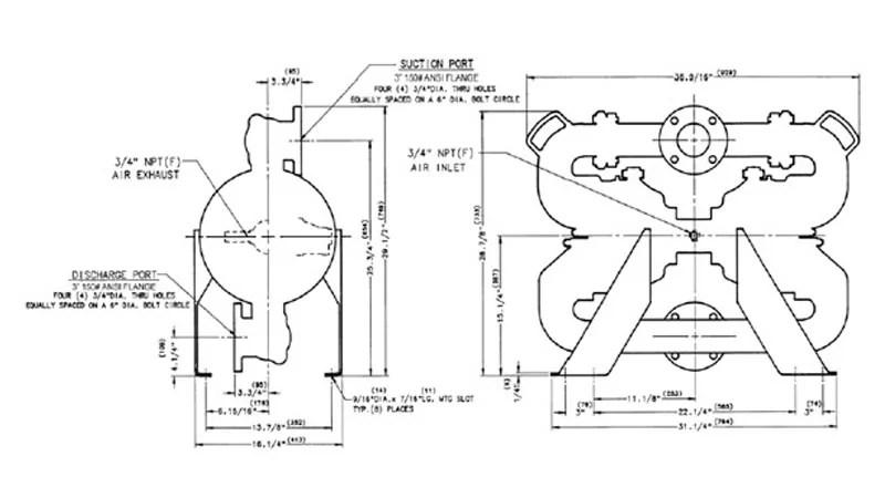 Bomba metálica con válvulas a clapeta para sólidos x75