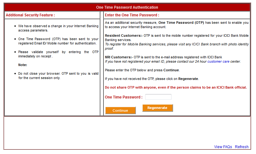 ICICI Bank's Stupid OTP (One Time Password) Feature