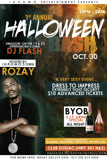 RO HALLOWEEN PARTY FLYER BACK