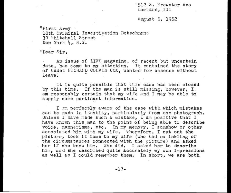 Sandage letter to CID, page 1