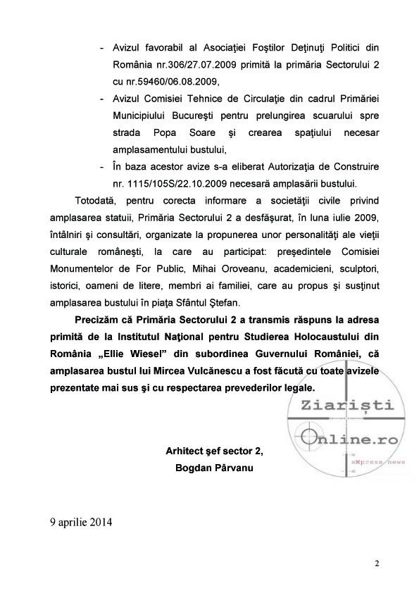 Arhitectul Primaria Sector 2 raspunde cu demnitate bolnavilor de la Inst Elie Wiesel in cazul statuii lui Mircea Vulcanescu Apr 2014 Ziaristi Online 2