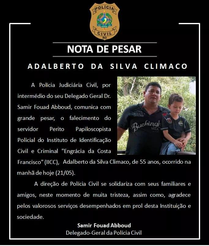 TRISTEZA: Policial civil morre vítima de coronavírus em Rondônia