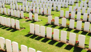 High Angle View Of White Tombstones In Military Graveyard