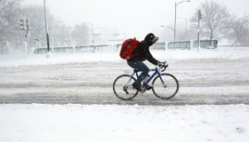 Cyclist Braves Icy Roads