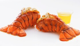Two Lobster Tails with Melted Butter