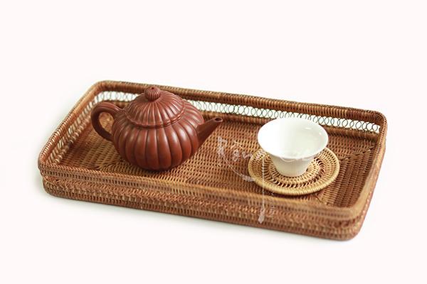 Khay mây tre đan chữ nhật loại kỹ có thể dùng làm khay trà độc ẩm!
