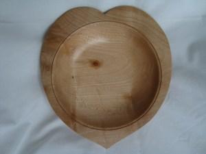 ash hand turned heart shaped bowl