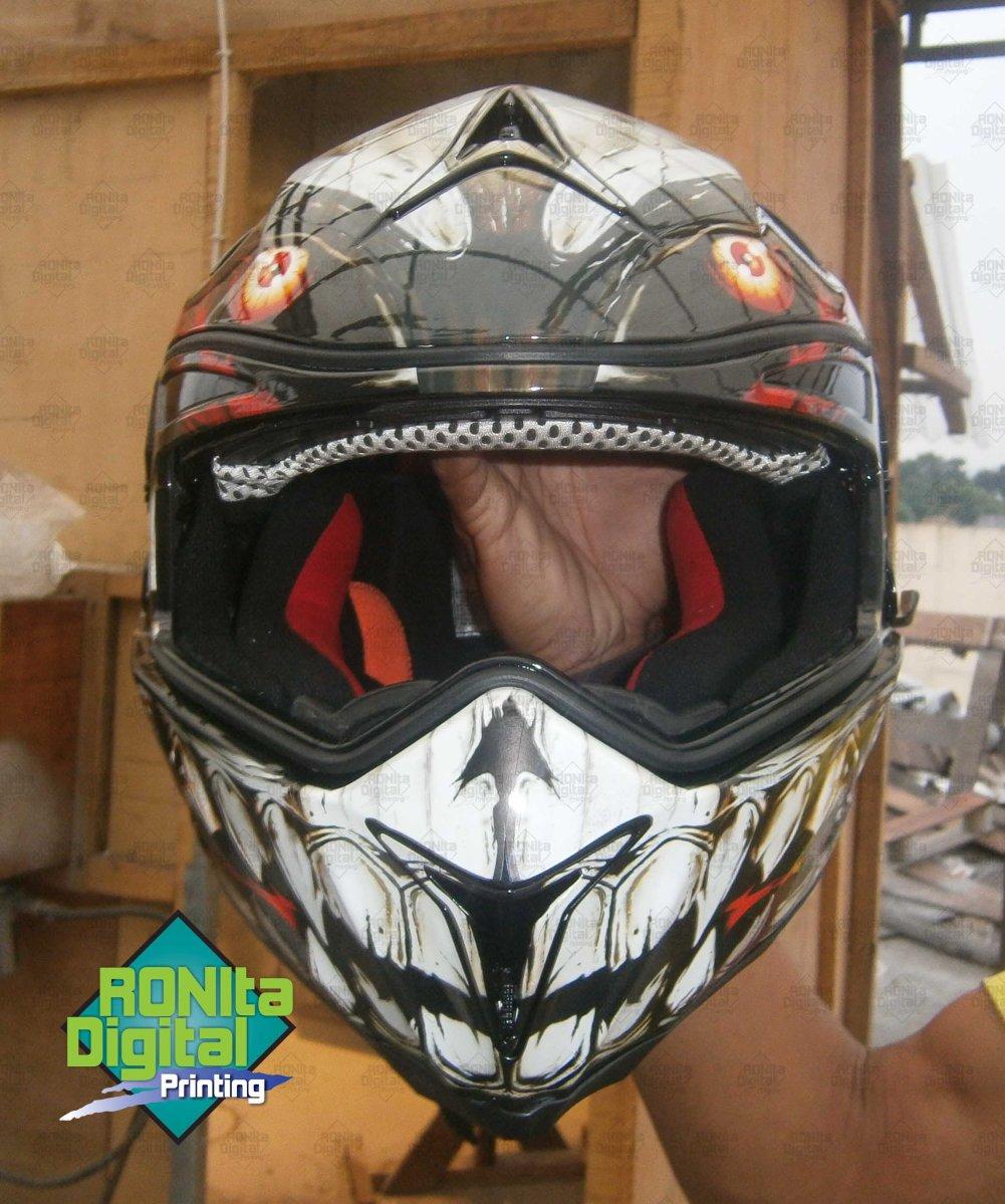 Merubah Tampilan helm GM Air Bone Dengan Motif Demon Yang