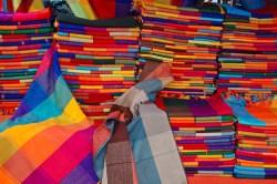 Red Weavings, Otavalo, Ecuador