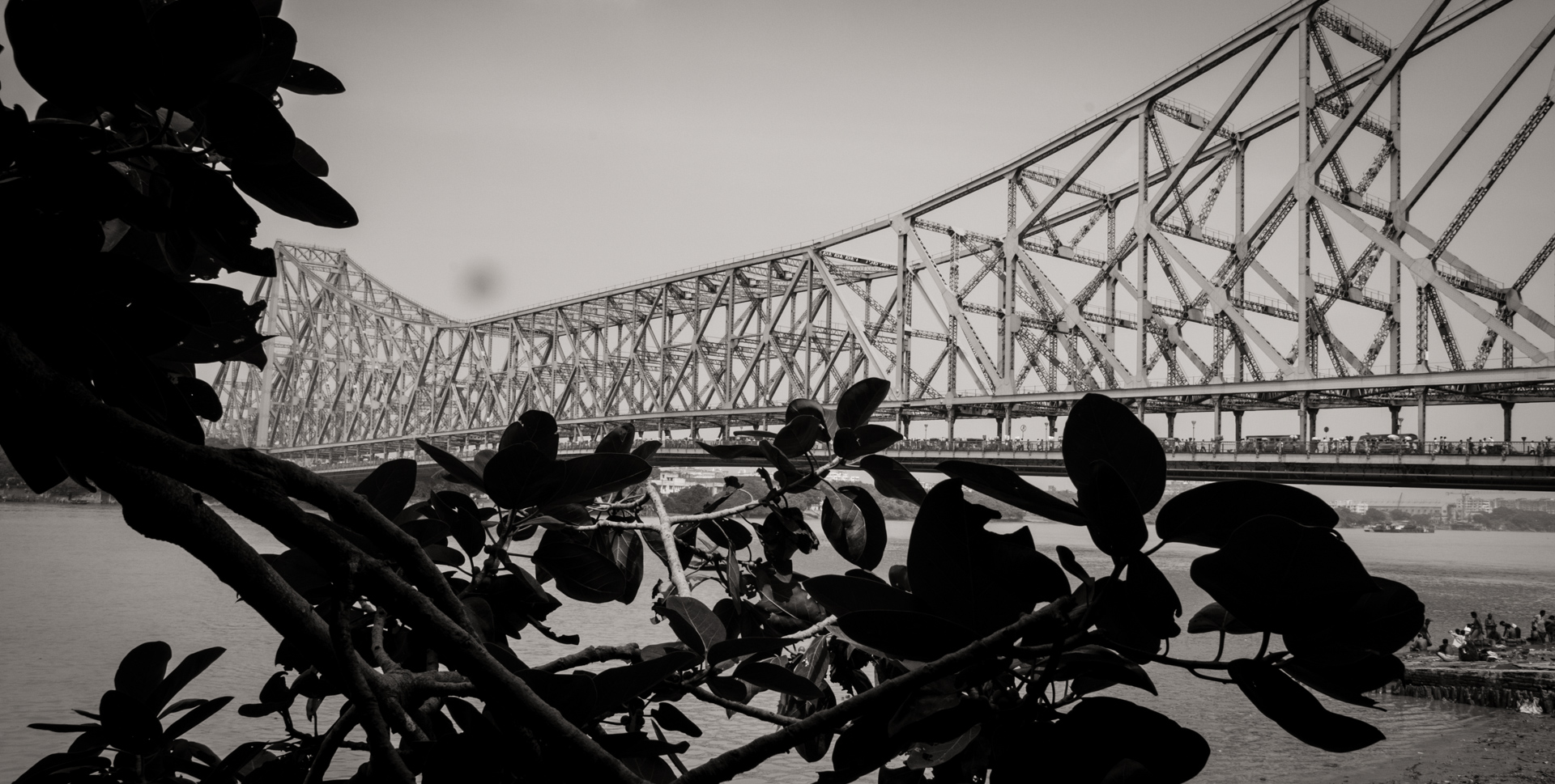 famed Howrah Bridge crosses the Hooghly River - Kolkata, India