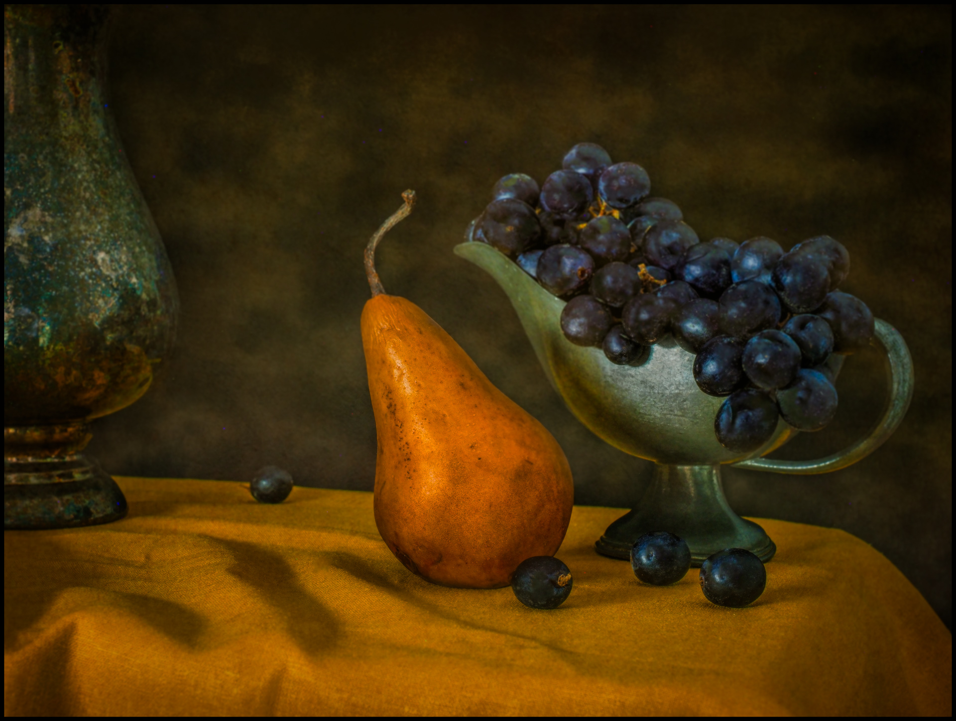 Still Life with Pear and Grapes