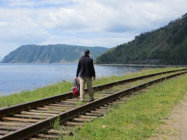 Walking the Circumbaikal Railway outside of Port Baikal