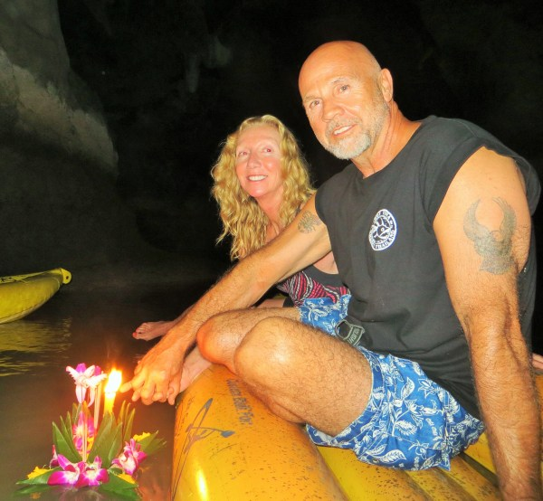 Launching our Krathong on Hong Island.