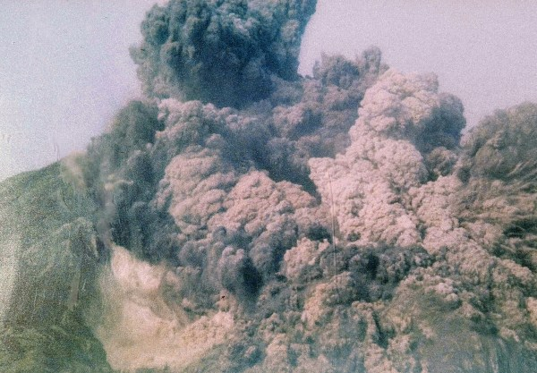 Photo of photo of Mt. St. Helens eruption in 1980
