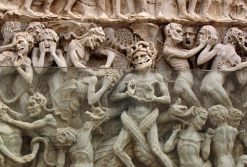 A close-up of the façade of The Cathedral of Orvieto, in central Italy, depicts the torment of the damned in stone in a carving dating back to the late Middle Ages.  A UMNS photo by Kathleen Barry.