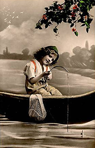"Victorian ""studio"" shot of boy fishing."