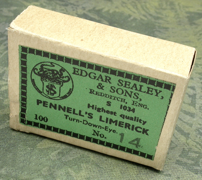 19. Edgar Sealy & Sons, LTD., S 1034, #14, Pennell's Limerick, turned down eye, bronzed, Redditch England.