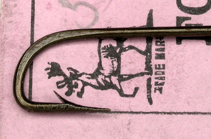 2b S. Allcock & Co., Ltd., #2811 Limerick, bronzed, forged, #10, looped, down eye, extra stout, hollow point, boxed, Redditch England. 1. Stearns Collection