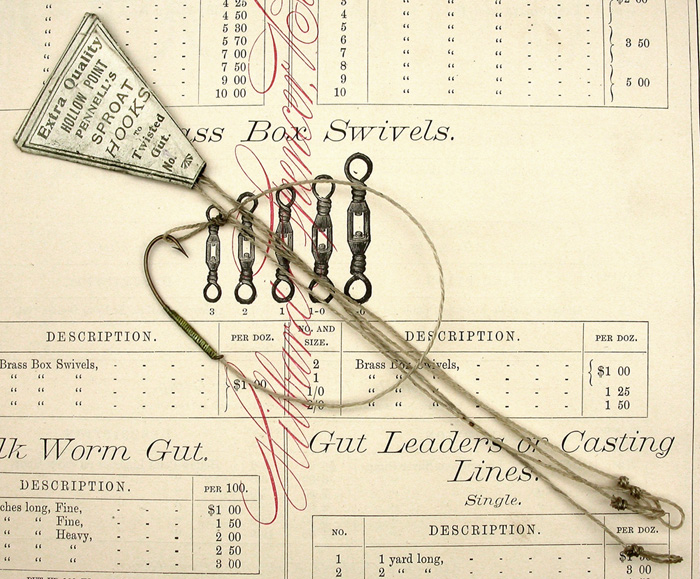 20a  W Woodfield & Sons, extra quality, Pennell's down eye sproat hooks, 2/0, double gut, bronzed.